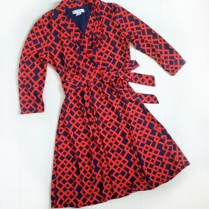 Liz Claiborne Faux Wrap Dress Geometric Red Navy